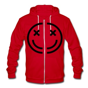4am face zip up fleece. [f on hood] - Unisex Fleece Zip Hoodie by American Apparel
