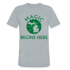 MAGIC BEGINS HERE - Unisex Tri-Blend T-Shirt by American Apparel