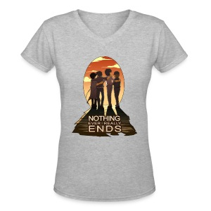 Nothing Ever Really Ends [DESIGN BY HUDA] - Women's V-Neck T-Shirt