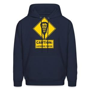'CAUTION: Lacrosse Player' Men's Hoodie - Men's Hoodie