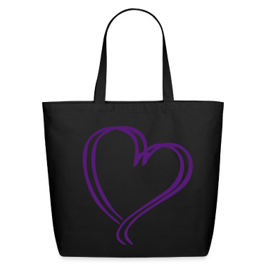 Purple Glitz Heart Tote