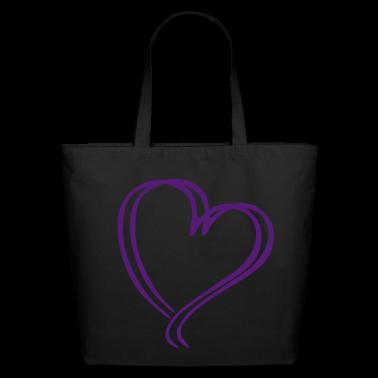 Purple Glitz Heart Tote