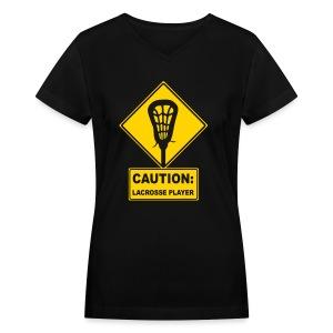 'CAUTION: Lacrosse Player' Women's V-Neck T-Shirt - Women's V-Neck T-Shirt