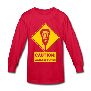'CAUTION: Lacrosse Player' Kid's Long Sleeve T-Shirt - Kids' Long Sleeve T-Shirt