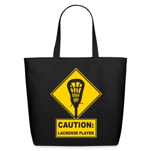 'CAUTION: Lacrosse Player' Organic Tote Bag - Eco-Friendly Cotton Tote