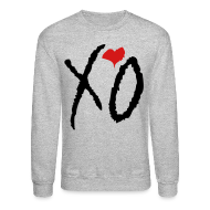 Long Sleeve Shirts ~ Crewneck Sweatshirt ~ CREW Love- XO Alternative Black w/ Red Heart