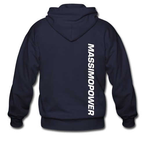 Massimo Power Side Text Zip Up Hoodie White Font - Men's Zip Hoodie