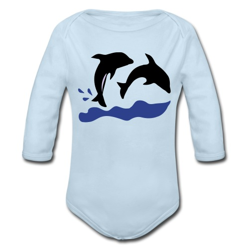 Dolphins Baby Long Sleeve One Piece - Organic Long Sleeve Baby Bodysuit