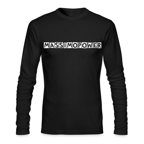 Massimo Power Blocked Letters Long Sleeve Shirt White Font - Men's Long Sleeve T-Shirt by Next Level
