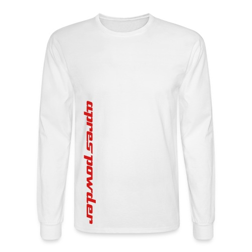 Apres Powder Text Tee: White/Red - Men's Long Sleeve T-Shirt