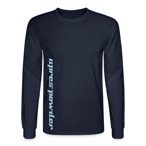 Apres Powder Text Tee: Brown/Blue - Men's Long Sleeve T-Shirt