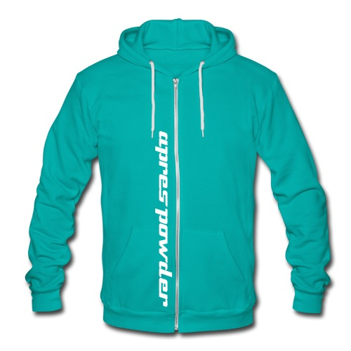 Apres Powder Text Zip-Up: Green/White - Unisex Fleece Zip Hoodie