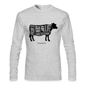 Men's 'Words to Live By' Shirt - Cow Design - Men's Long Sleeve T-Shirt by Next Level