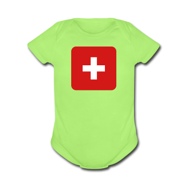 MEDIC white cross on a red button square rectangle Baby Bodysuits