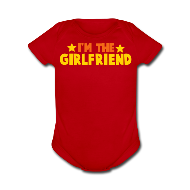 new i'm the girlfriend family label design Baby Bodysuits