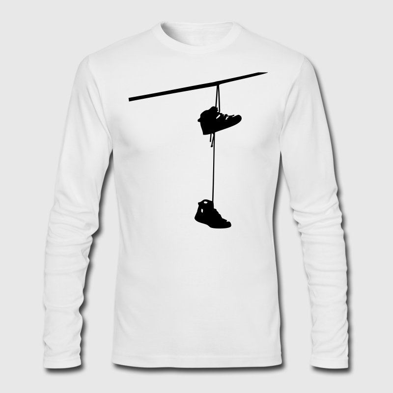 shoefiti shoes hanging bootlace shoelace lace streetart line cable Long Sleeve Shirts - Men's Long Sleeve T-Shirt by Next Level