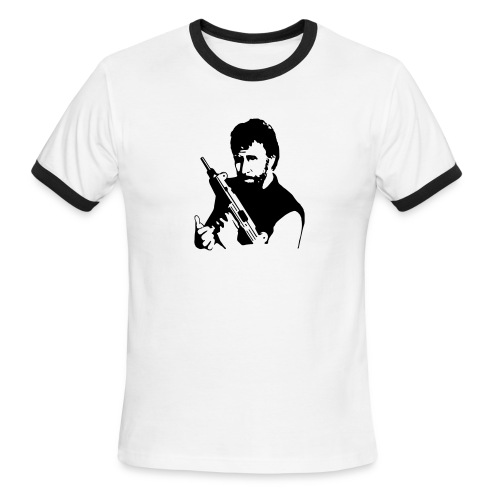 Chuck with his Machine Gun - Men's Ringer T-Shirt