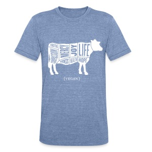 Men's 'Words to Live By' Shirt - Cow - Unisex Tri-Blend T-Shirt by American Apparel