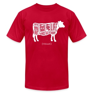 Men's 'Words to Live By' Shirt - Cow - Men's T-Shirt by American Apparel