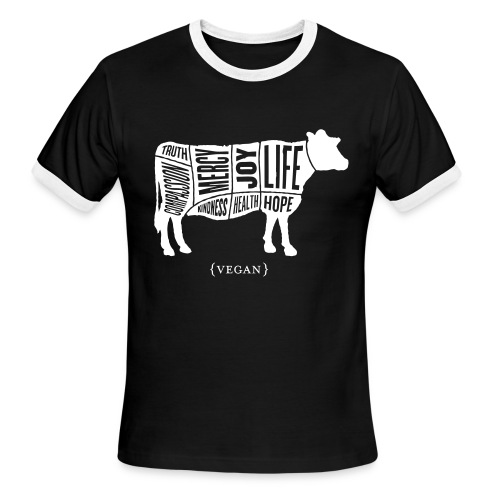 Men's 'Words to Live By' Shirt - Cow - Men's Ringer T-Shirt