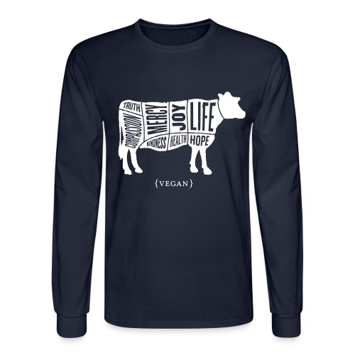 Men's 'Words to Live By' Shirt - Cow - Men's Long Sleeve T-Shirt
