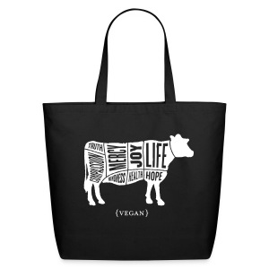 White Cow design with May our Daily Choices Quote on Back - Eco-Friendly Cotton Tote