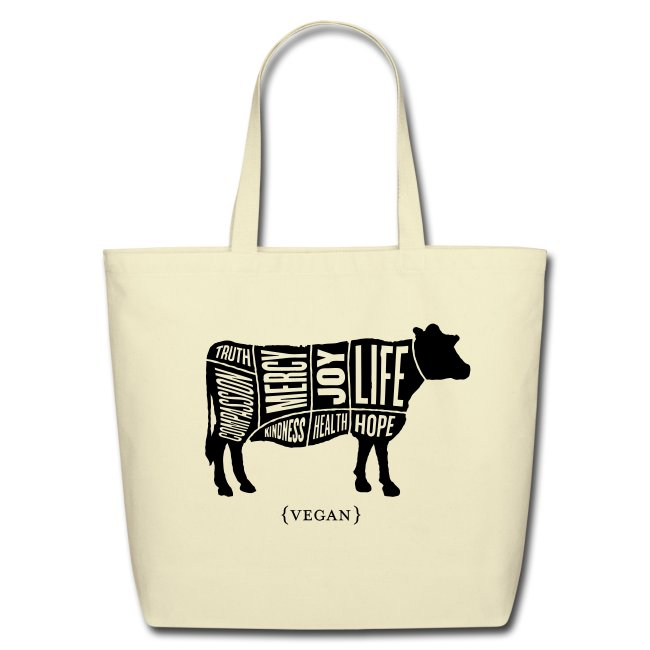 "Cow design - Tote with ""May our Daily Choices"" Quote on Back"