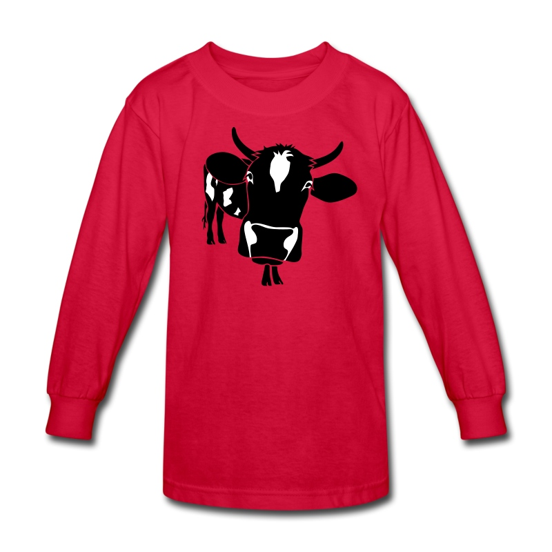 animal t-shirt cow bull ox milk farmer farm country cows dairy beef steak cook bbq - Kids' Long Sleeve T-Shirt