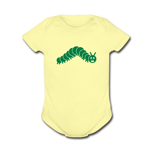 animal t-shirt caterpillar worm snake hungry butterfly magot maggot grub crawler inchworm looper - Organic Short Sleeve Baby Bodysuit