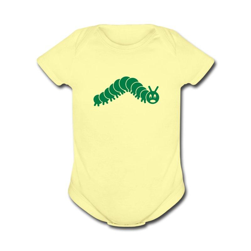animal t-shirt caterpillar worm snake hungry butterfly magot maggot grub crawler inchworm looper - Short Sleeve Baby Bodysuit
