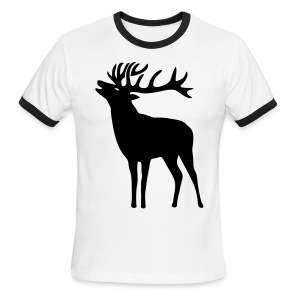 animal t-shirt wild stag deer moose elk antler antlers horn horns cervine hart bachelor party night hunter hunting - Men's Ringer T-Shirt
