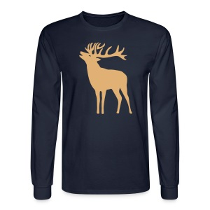 animal t-shirt wild stag deer moose elk antler antlers horn horns cervine hart bachelor party night hunter hunting - Men's Long Sleeve T-Shirt
