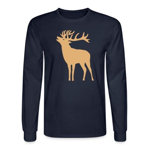 animal t-shirt wild stag deer moose elk antler antlers horn horns cervine hart bachelor party night hunter hunting - Men's Long Sleeve T-Shirt