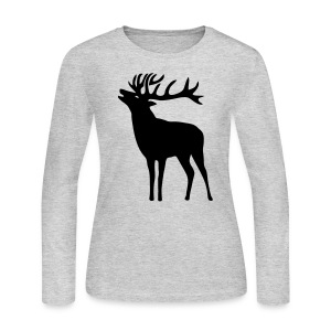 animal t-shirt wild stag deer moose elk antler antlers horn horns cervine hart bachelor party night hunter hunting - Women's Long Sleeve Jersey T-Shirt