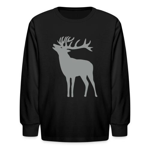 animal t-shirt wild stag deer moose elk antler antlers horn horns cervine hart bachelor party night hunter hunting - Kids' Long Sleeve T-Shirt