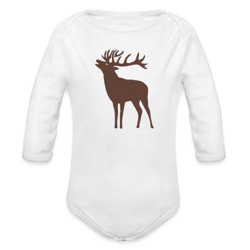 animal t-shirt wild stag deer moose elk antler antlers horn horns cervine hart bachelor party night hunter hunting - Organic Long Sleeve Baby Bodysuit