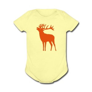 animal t-shirt wild stag deer moose elk antler antlers horn horns cervine hart bachelor party night hunter hunting - Short Sleeve Baby Bodysuit