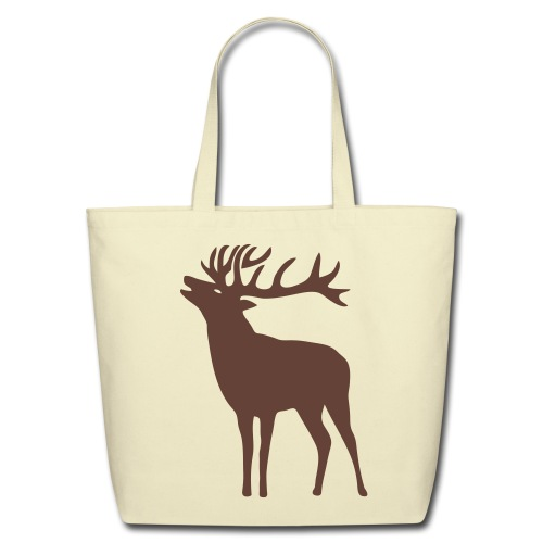 animal t-shirt wild stag deer moose elk antler antlers horn horns cervine hart bachelor party night hunter hunting - Eco-Friendly Cotton Tote