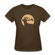 Women's T-Shirts ~ Women's T-Shirt ~ animal t-shirt wild stag deer moose elk antler antlers horn horns cervine hart bachelor party night hunter hunting