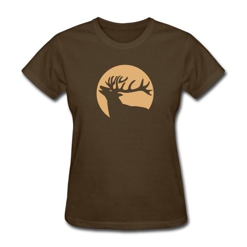 animal t-shirt wild stag deer moose elk antler antlers horn horns cervine hart bachelor party night hunter hunting - Women's T-Shirt
