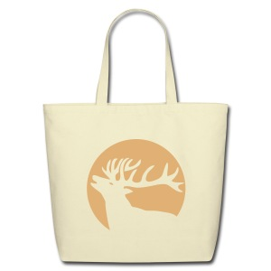animal t-shirt wild stag deer moose elk antler antlers horn horns cervine hart bachelor party night hunter hunting - Eco-Friendly Cotton Tote
