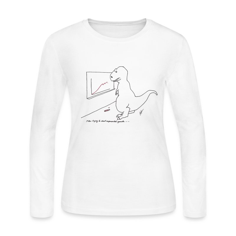 Ladies T-Rex Exponential Growth Chart (Long Sleeve) - Women's Long Sleeve Jersey T-Shirt