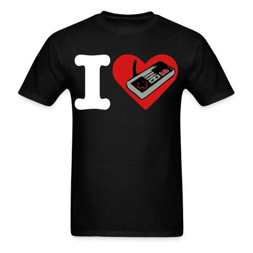 Men's T-Shirt - heart,games,finite,controller,black,I love
