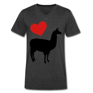 Llama Love - Men's V-Neck T-Shirt by Canvas