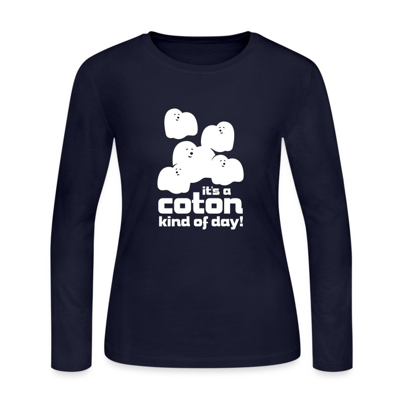 Women's Long Sleeve Jersey T-Shirt - Cute, fluffy little Coton clouds will brighten everyone's day! Also available in short sleeve.
