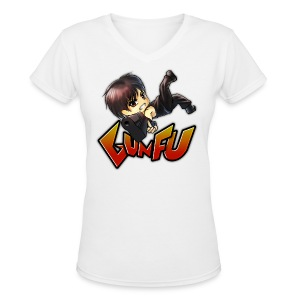 Anime Gun Fu Women's Fitted Shirt - Women's V-Neck T-Shirt