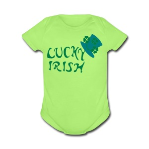 Luck Irish Shamrock hat st.patrick's day Baby Short Sleeve One Piece - Short Sleeve Baby Bodysuit