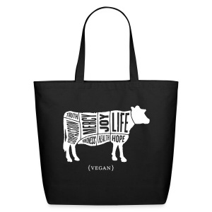 White cow design with don't do nothing quote on back - Eco-Friendly Cotton Tote