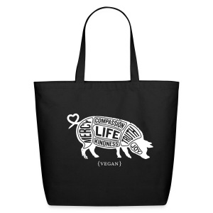 White pig design with don't do nothing quote on back - Eco-Friendly Cotton Tote