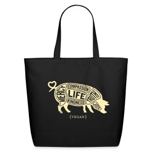 Tan pig design with Don't do nothing quote - Eco-Friendly Cotton Tote